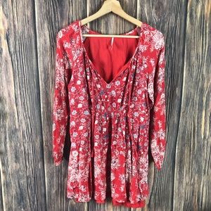 Free people small tunic top long sleeve red floral